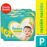 4 Paquete Pañales Pampers Premium Care 144 Unidades Talla P