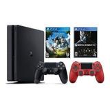 Sony Ps4 Slim 1tb + Mortal Kombat Xl + Horizon + 2 Controles