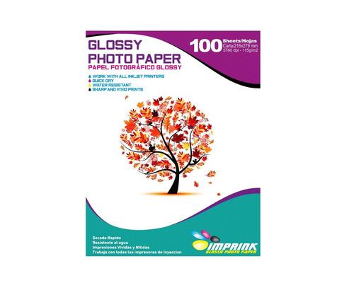 Papel Foto Glossy Carta 115gr/100 Hojas. Envio Gratis X 6un!
