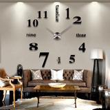 Diy 3d Reloj De Pared Grande Tamaño Espejos Superficie Decor