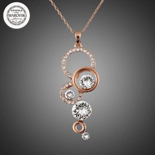 c89008c67973 Collar Con Cristal Swarovski Circulos Bañado Oro Rosa Lujo
