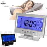 Reloj Despertador Lcd Escritorio Luz Temperatura Calendario