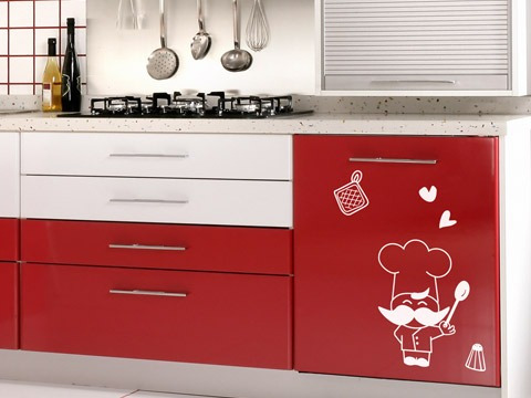 Set de vinilos adhesivos decorativos para cocina 5000 for Vinilos para muebles