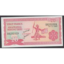 Billete De Burundi 20 Francs Año 2007 Unc