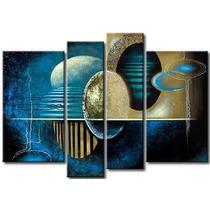 Cuadros Abstractos Azules Y Turquezas, Acrilico Sobre Tela