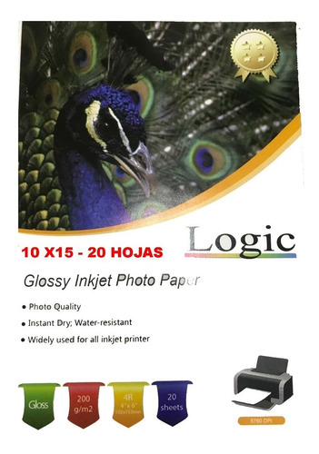 Papel Fotografico Glossy 200 Grs 10x15 20  Hojas