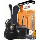 Guitarra Electroacústica Folk Negra Freeman ( Envío Gratis )