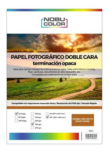 Papel Foto Matte Doble Cara A3+ 250 Gr. 20 Hojas