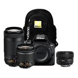 Cámara Nikon D3500 + Lentes 18-55mm + 70-300mm + 35mm