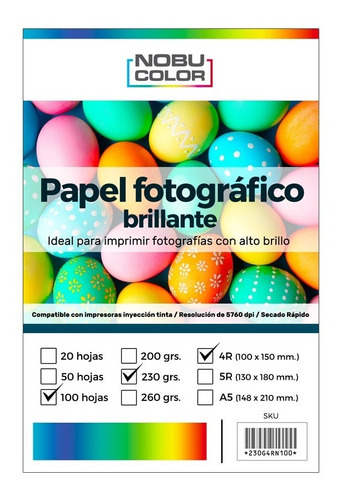 Papel Foto Glossy 4r 102x152 Mm. 230 Gr. 100 Hojas