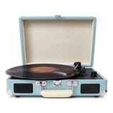Tocadisco 3 Velocidades Maleta De Cuero Azul Parlantes R4699