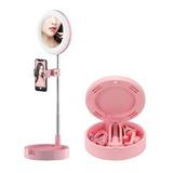Aro De Luz 16cm Espejo De Maquillaje + Soporte Celular Ring