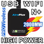 2000mw Usb Wifi N + Antena 5dbi Wifislax Backtrack Beini Mac