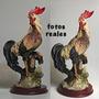 Gallo De Resina Colección, Simil Porcelana 16 Cm. Alto Total
