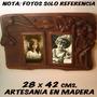 Porta-retratos Retro Artesanía Tallado En Madera 28x42 Cm.