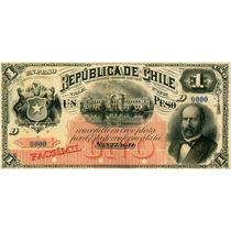 Chile Facsimil Escaso Billete 1 Peso 2a Emisión Fiscal 1883