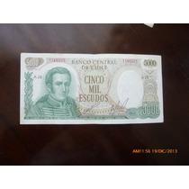 Billete Chile 5000 Escudos Cano -molina 1973