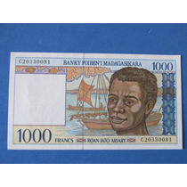 Billete Africa Isla Madagascar 1000 Francos Impecable Unc
