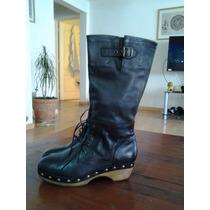 Bota Marca Natacha N°40 Color Negro 100% Cuero Con Tachas