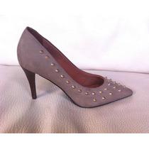 Zapatos Via Uno Talla 38 De Cuero Color Arena