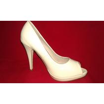 Hermosos Zapatos Beige De Charol
