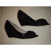 Zapato Gacel De Cuero Color Negro N º 38 Taco Chino.
