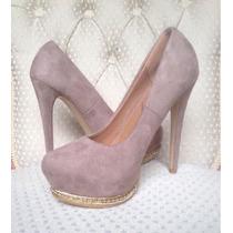 Zapatos Mujer Taco Alto Beige 38 Y 39 Nuevos Importados