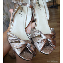 Zapatos Dorados Fiesta Estilo Retro Con Correa