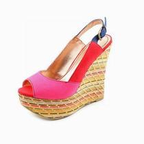 Sandalias Con Terraplen Color Rosado