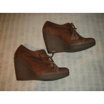 Zapatos Gacel De Cuero Y Terraplén Color Camel N º 38.