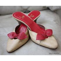 Puntillas Italianas Rafia Y Cuero Rojo 37