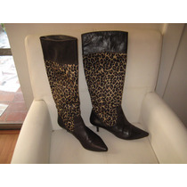 Botas Largas Zara, Animal Print, Cuero, Talla 38/38 Y Medio