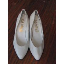 Zapato Blanco Cuero Marca Botticelh Santiago, Talla35