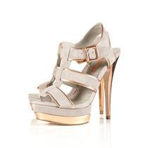 Sandalias Plataforma Topshop Cuero Bronze Limited Edition