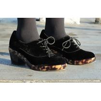 Zapato Oxford Mujer Terciopelo Negro Tortoise Taco Medio 36