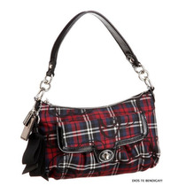 Coach Poppy Tartan Plaid Multi Groovy Cartera Original Cuero