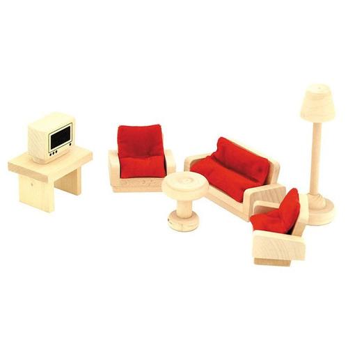 Completo Set Muebles De Living En Madera Para Casa Muñecas  $ 6200