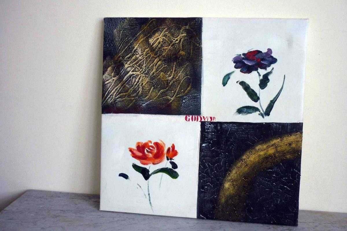 Cuadro moderno flores naranjas cuadros laura pictures - Cuadro blanco y negro ...