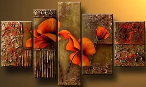 Pinturas de flores naranjas imagui - Cuadros modernos con texturas ...