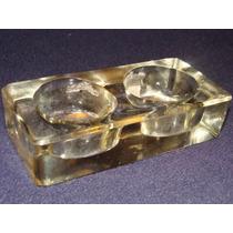 Antiguo Tintero De Cristal -muy Fino - Doble