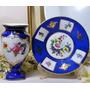 Hermoso Conjunto Florero Y Plato Porcelana Azul Con Flores