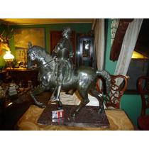 Escultura Italiana Venecia Condottiero Bronce Peltre Marmol
