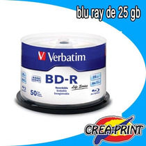 Pack De 5o Bd-r Grabables Verbatim 25 Gb 6x Blu Ray Disc