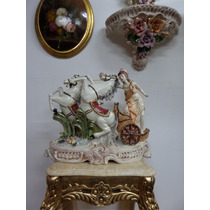 Gran Figura Porcelana Caballos Ninfa