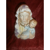 Porcelana Coleccionable Antigua Religiosa Virgen Niño Jesus