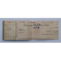 Antigua Cheque Del Banco Del Estado De Chile 1958
