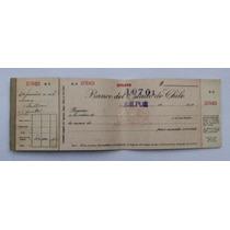 Antigua Cheque Del Banco Del Estado De Chile 1958