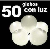 50 Globos Con Luz Led Blancos Fiestas Boda Evento / Fernapet