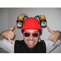 Gorro,casco Cervecero Para 2 Bebidas Manos Libres