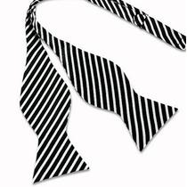 Humita Papillon Blanca Lineas Negra Para Traje,camisa,formal